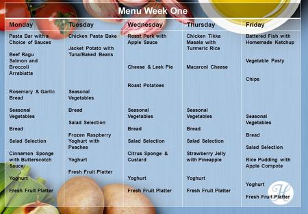 Menu Week One MondayTuesdayWednesdayThursdayFriday Pasta Bar with a Choice of Sauces Beef Ragu Salmon and Broccoli Arrabiatta Rosemary & Garlic Bread Seasonal.
