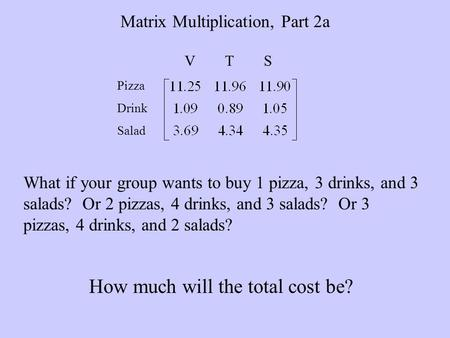 Matrix Multiplication, Part 2a V T S Pizza Drink Salad What if your group wants to buy 1 pizza, 3 drinks, and 3 salads? Or 2 pizzas, 4 drinks, and 3 salads?