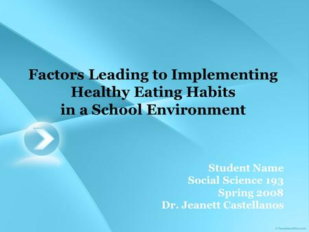Factors Leading to Implementing Healthy Eating Habits in a School Environment Student Name Social Science 193 Spring 2008 Dr. Jeanett Castellanos.
