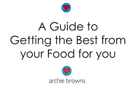 A Guide to Getting the Best from your Food for you.