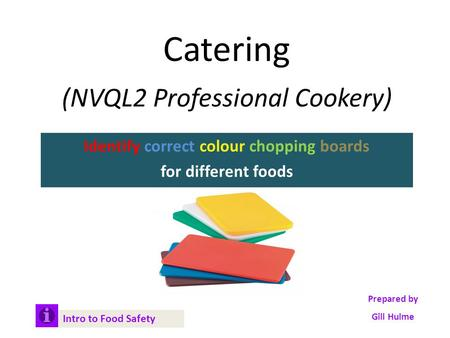 Catering (NVQL2 Professional Cookery) Identify correct colour chopping boards for different foods Intro to Food Safety Prepared by Gill Hulme.