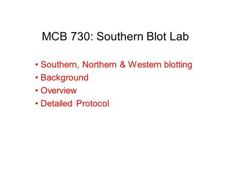 MCB 730: Southern Blot Lab Southern, Northern & Western blotting Background Overview Detailed Protocol.