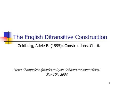 The English Ditransitive Construction