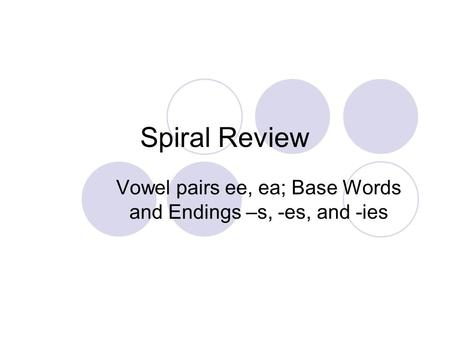 Spiral Review Vowel pairs ee, ea; Base Words and Endings –s, -es, and -ies.
