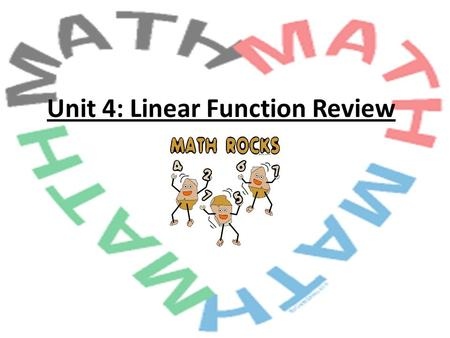 Unit 4: Linear Function Review. Play for Extra Credit!! This Review Game is posted on Mrs. Laurenzi's website. If you play at home and bring in all of.