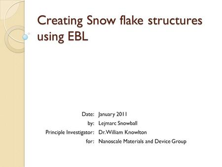 Creating Snow flake structures using EBL Date:January 2011 by:Lejmarc Snowball Principle Investigator:Dr. William Knowlton for:Nanoscale Materials and.