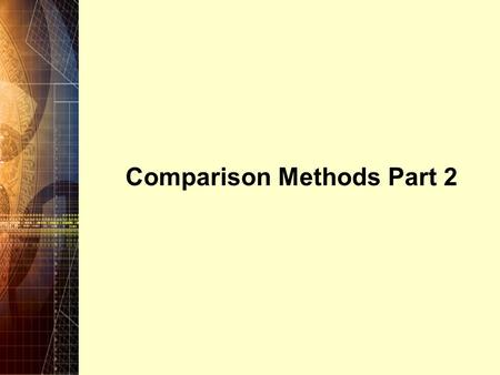 Comparison Methods Part 2. Copyright © 2006 Pearson Education Canada Inc. 5-2 5.1 Introduction Chapter 4 introduced the Present Worth and Annual Worth.