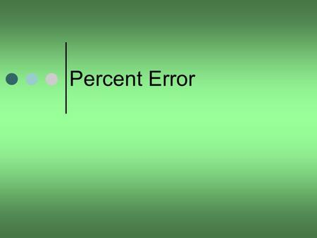 Percent Error. Percent Error At the conclusion of our time together, you should be able to: 1.Define experimental error, relative error and percent error.
