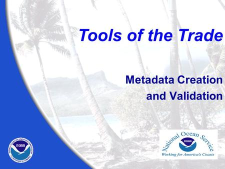 Metadata Creation and Validation Tools of the Trade.