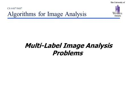 The University of Ontario CS 4487/9687 Algorithms for Image Analysis Multi-Label Image Analysis Problems.