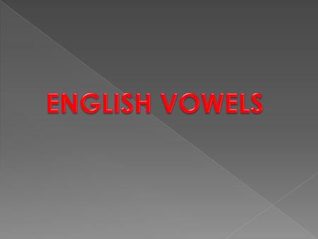 Vowel sounds are classified in terms of: Tongue height Tongue backness Lip rounding Tenseness.