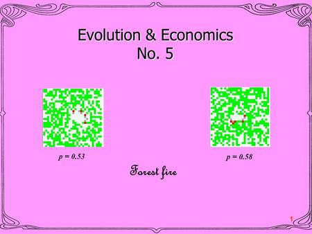 1 Evolution & Economics No. 5 Forest fire p = 0.53 p = 0.58.
