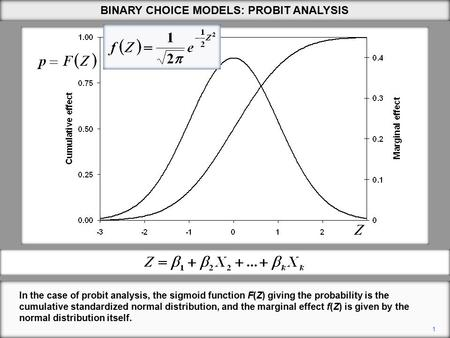 1 BINARY CHOICE MODELS: PROBIT ANALYSIS In the case of probit analysis, the sigmoid function F(Z) giving the probability is the cumulative standardized.