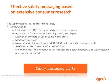 1 Effective safety messaging based on extensive consumer research The top messages that address meat safety IMPROVEST is: – FDA approved (#1) – Recognized.