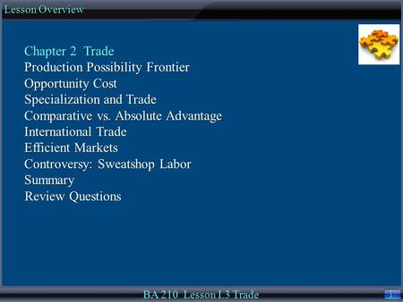 1 1 Lesson Overview BA 210 Lesson I.3 Trade Chapter 2 Trade Production Possibility Frontier Opportunity Cost Specialization and Trade Comparative vs. Absolute.
