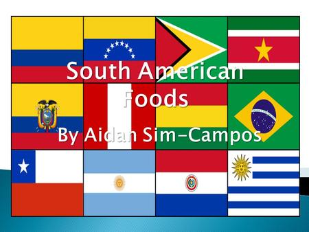 South American Foods By Aidan Sim-Campos.  A long time before the Europeans arrived in South America, the native population had a large selections of.