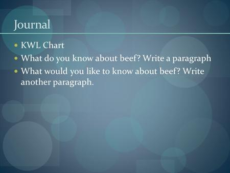 Journal KWL Chart What do you know about beef? Write a paragraph What would you like to know about beef? Write another paragraph.