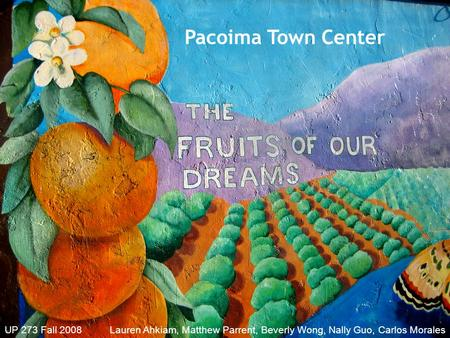 Pacoima Town Center UP 273 Fall 2008 Lauren Ahkiam, Matthew Parrent, Beverly Wong, Nally Guo, Carlos Morales.