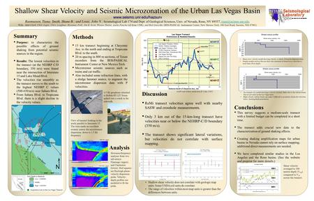 Shallow Shear Velocity and Seismic Microzonation of the Urban Las Vegas Basinwww.seismo.unr.edu/hazsurv Rasmussen, Tiana; Smith, Shane B.; and Louie, John.