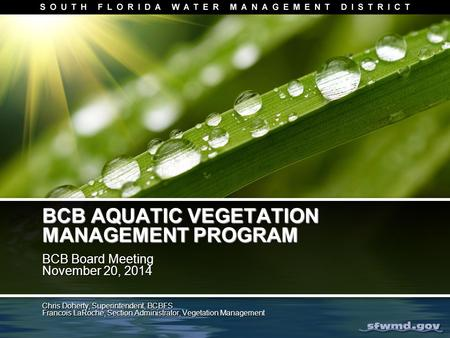 BCB AQUATIC VEGETATION MANAGEMENT PROGRAM BCB Board Meeting November 20, 2014 BCB Board Meeting November 20, 2014 Chris Doherty, Superintendent, BCBFS.