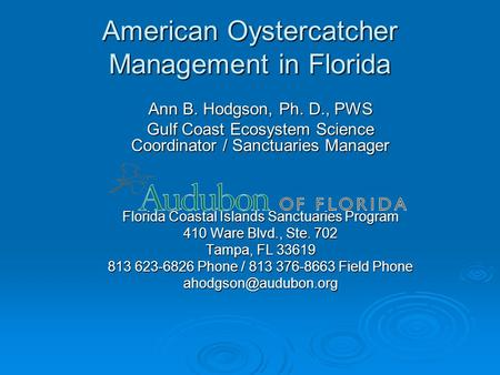 American Oystercatcher Management in Florida Ann B. Hodgson, Ph. D., PWS Gulf Coast Ecosystem Science Coordinator / Sanctuaries Manager Florida Coastal.