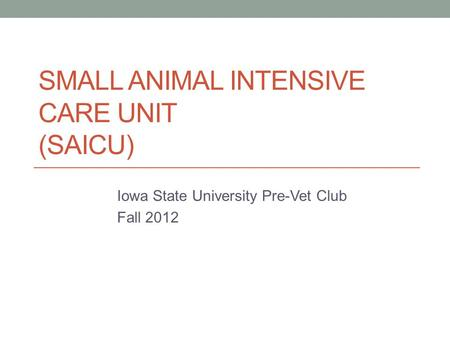 SMALL ANIMAL INTENSIVE CARE UNIT (SAICU) Iowa State University Pre-Vet Club Fall 2012.