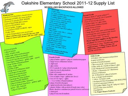 Oakshire Elementary School 2011-12 Supply List NO ROLLING BACKPACKS ALLOWED First Grade 12 glue sticks 4 ct. pack of EXPO dry erase markers 12 folders.