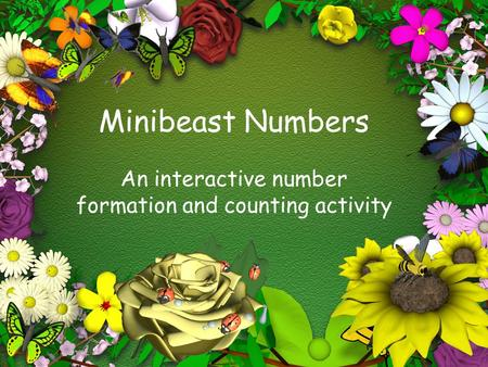 Minibeast Numbers An interactive number formation and counting activity.
