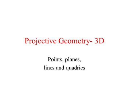 Projective Geometry- 3D