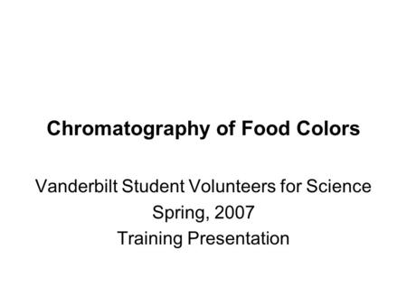 Chromatography of Food Colors