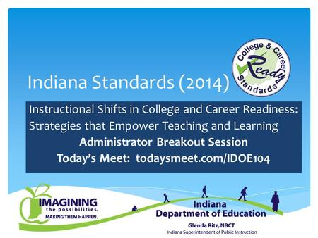 Indiana Standards (2014) Instructional Shifts in College and Career Readiness: Strategies that Empower Teaching and Learning Administrator Breakout Session.