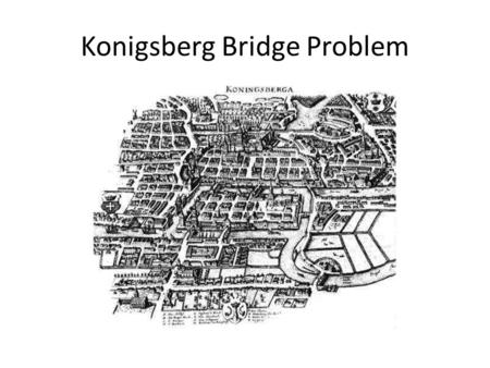 Konigsberg Bridge Problem. Konigsberg is now known as Kaliningrad, Russia.