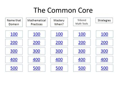 The Common Core Name that Domain Mastery When? Tribond Math Tools StrategiesMathematical Practices 100 200 300 400 500.