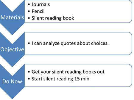 Materials Journals Pencil Silent reading book Objective I can analyze quotes about choices. Do Now Get your silent reading books out Start silent reading.