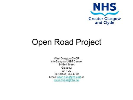 Open Road Project West Glasgow CHCP c/o Glasgow LGBT Centre