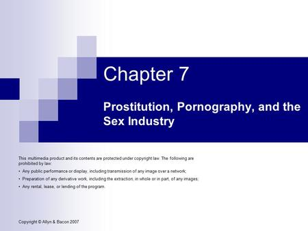 Prostitution, Pornography, and the Sex Industry