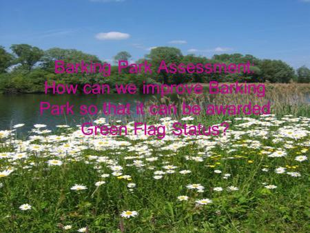 Barking Park Assessment: How can we improve Barking Park so that it can be awarded Green Flag Status?
