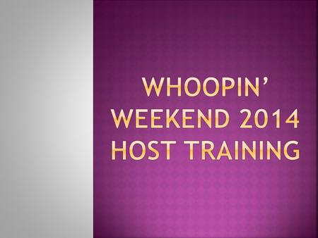  What is Whoopin' Weekend?  Schedule for conference  Host rules  FAQs  Background Check and Child Protection Training.
