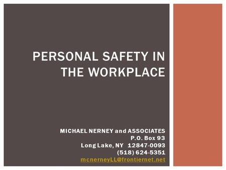 PERSONAL SAFETY IN THE WORKPLACE MICHAEL NERNEY and ASSOCIATES P.O. Box 93 Long Lake, NY 12847-0093 (518) 624-5351