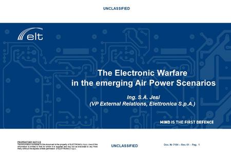 The Electronic Warfare in the emerging Air Power Scenarios