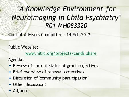 """A Knowledge Environment for Neuroimaging in Child Psychiatry"" R01 MH083320 Clinical Advisors Committee – 14.Feb.2012 Public Website: www.nitrc.org/projects/candi_share."