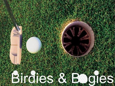 Birdies & Bogies HOW TO PLAY: Create a team of 4 players. For each question, each team member will be required to work out the answer. After a few moments,