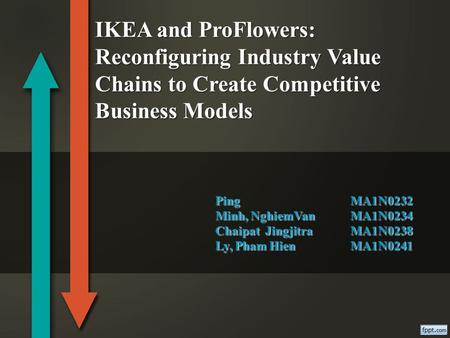 PingMA1N0232 Minh, NghiemVan MA1N0234 Chaipat JingjitraMA1N0238 Ly, Pham Hien MA1N0241 IKEA and ProFlowers: Reconfiguring Industry Value Chains to Create.