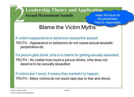 Chapter 1: Being a Leader Lesson 5: Sexual Harassment/Assault Unit Sexual Harassment/Assault Leadership Theory and Application 2 Visual #2 Blame the Victim.