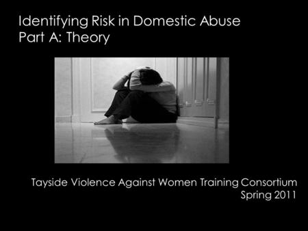 Identifying Risk in Domestic Abuse Part A: Theory Tayside Violence Against Women Training Consortium Spring 2011.