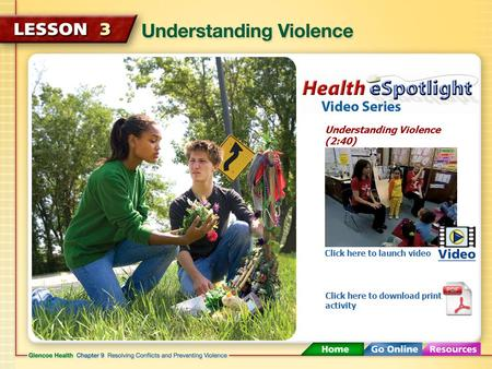 Understanding Violence (2:40) Click here to launch video Click here to download print activity.