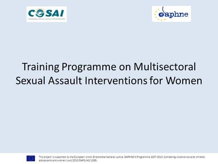 Training Programme on Multisectoral Sexual Assault Interventions for Women This project is supported by the European Union Directorate-General Justice.