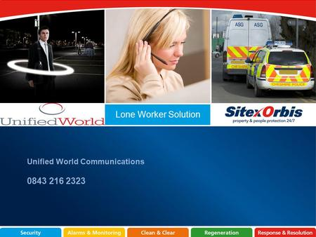 Lone Worker Solution Unified World Communications 0843 216 2323.