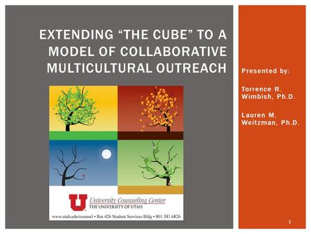 "Presented by: Torrence R. Wimbish, Ph.D. Lauren M. Weitzman, Ph.D. EXTENDING ""THE CUBE"" TO A MODEL OF COLLABORATIVE MULTICULTURAL OUTREACH 1."