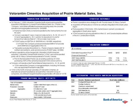 0 Votorantim Cimentos Acquisition of Prairie Material Sales, Inc. TRANSACTION OVERVIEW  On February 7, 2008 Votorantim Cimentos North America announced.